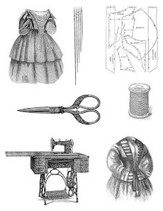 Antique Images: Free Digital Collage Sheet: 7 Pieces of Victorian Sewing Clip Art Illustrations