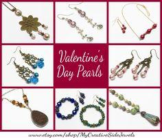 Handmade pearl jewelry.  Pearl necklace, pearl bracelet, pearl chandelier earrings.  Etsy jewelry: https://www.etsy.com/shop/MyCreativeSideJewels