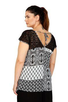 Μπλούζα εμπριμέ με δαντέλα & V πλάτη - Μπλούζες - Ρούχα - Διάφορα   Parabita