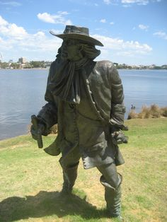 Willem de Vlamingh, explorer who named the Swan River. part of the Burswood Park Heritage Trail, Perth WA  Artists: Joan Walsh-Smith & Charles Smith.1995