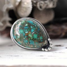 Ring  Turquoise Copper  Sterling silver  size 55  ready by Huismus, $139.00