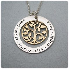 Hand Stamped  Family Tree Necklace  by StampedUnderTheMoon on Etsy, $72.00