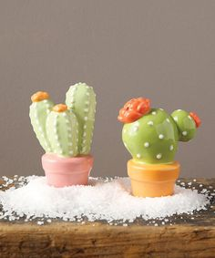 Creative Co-Op Ceramic Cacti Salt & Pepper Shakers | zulily -- these are adorable!! and less than $10