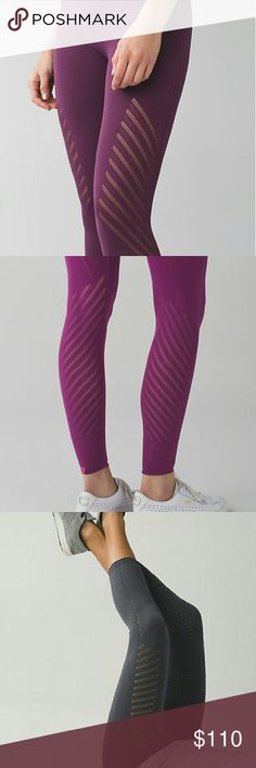 NWT Lululemon Enlighten Tights Seamless construction reduces bulking to keep chaffing dowb.  High rise waistband stays without digging. Colour: Purple (Pic 3 for full pic only)  - Size Medium.  Will gladly consider offers with the offer button. Happy Poshing. lululemon athletica Pants Leggings