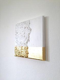 Abstrakte Malerei weiß Gold G19