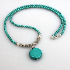 Turquoise Necklace Freshwater pearl Sterling Silver Seaside