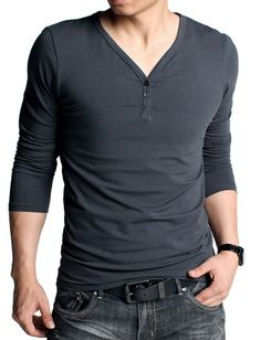 Slim Fit Henley T-Shirt For Men Fashion