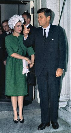 Princess Grace of Monaco with President John F Kennedy