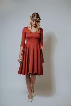Knielanges Kleid in herbstlichen Farben, Swingkleid zum Tanzen / knee long dress in autumnal colors, swing dress for dancing made by Ave-evA via DaWanda.com