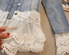 With these five ways to add lace to a denim jacket, create a soft, romantic look in place of harsh denim. From Rain Blanken, your DIY Fashion expert. jacket Outfits Five Ways to Add Lace to a Denim Jacket Sewing Hacks, Sewing Tutorials, Sewing Patterns, Sewing Tips, Sewing Ideas, Embroidery Patterns, Diy Clothing, Sewing Clothes, Clothes Refashion