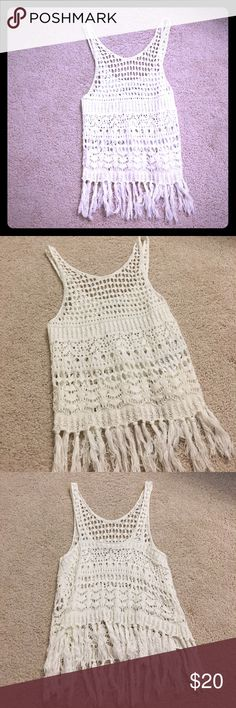 A&F Fringe Crochet Tank Super cute! Worn 2 times, need to come out the bottom fringe portion after you wear it, but super cute! Doesn't fit me anymore post pregnancy so sadly haven't gotten to wear it anymore. EUC. Abercrombie & Fitch Tops Tank Tops
