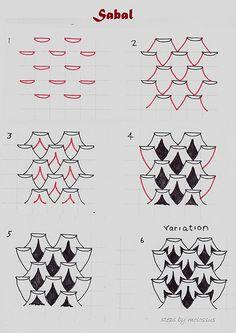 Sabal-tangle pattern by molossus, who says Life Imitates Doodles, via Flickr