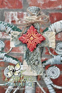 Mississippi Pottery Handbuilt Ceramic Lace Flower Cross