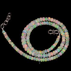 "49CRTS 3.5to6MM 18"" ETHIOPIAN OPAL FACETED RONDELLE BEADS NECKLACE OBI2135 #OPALBEADSINDIA"