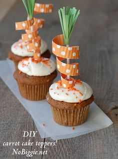 DIY carrot cake toppers using scrapbooking paper and a pair of scissors-can't get much simpler!