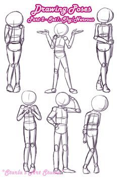 Shy Poses: Here is a quick reference page for shy or nervous poses. For more tips visit the video linked to this pin! (Drawn by Starla's Art Studio YT) Art Drawings Sketches Simple, Cute Drawings, Cartoon Art Styles, Cartoon Drawings, Body Drawing Tutorial, Drawing Body Poses, Anatomy Poses, Poses References, Art Inspiration Drawing