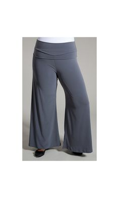 Easy to wear wide legged plus size palazzo pants are super stretchy! A fold over waistband and super comfy to wear.