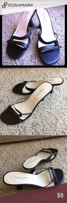 Kenneth Cole reaction black low heeled sandals Kenneth Cole reaction black low heeled sandals. Few nick. Please see pictures. Kenneth Cole Reaction Shoes Sandals