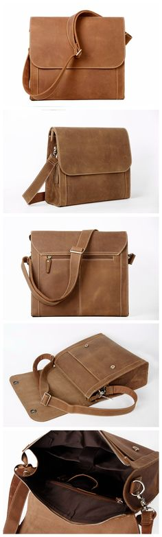 Handcrafted Vintage Style Real Leather Briefcase Men Messenger Bag, Crossbody Shoulder Bag