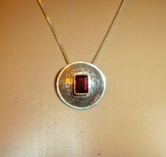 VINTAGE RED RUBY STERLING SILVER TRIBAL STYLING PENDANT NECKLACE NICE!! http://r.ebay.com/4Aj2QT