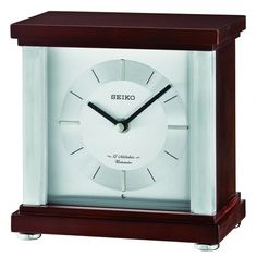 Seiko Clock - Rothesay Contemporary Desk & Table Clock QXW441BLH ($161) ❤ liked on Polyvore featuring home, home decor, clocks, wooden mantel clocks, contemporary desk clock, chiming clocks, contemporary home accessories and wood mantle clock