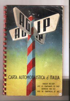 Carta automobilistica d'Italia omaggio Agip 1954 pubblicità ENERGOL AGIPGAS SUER…