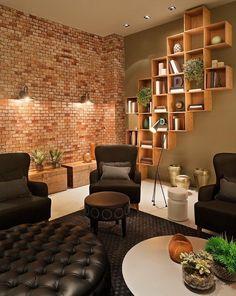 Tégla fali dekoráció egy meghitt Nappali Szerető díszítése Szoba Tégla lakberendezési Cool Bookshelves, Bookcase, Wooden Flooring, Brick Wall, Living Room Designs, Living Room Furniture, Wall Decor, House Design, Interior Design