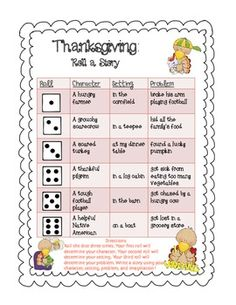 Your students will roll the dice three times to determine their character, problem, and setting for a thanksgiving inspired story. My students love to use this writing center during the Daily 5 (Work on Writing) and during writer's workshop. It is highly engaging!