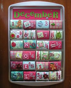 Magnetic matchbox advent calender. Going to make one with the kids on break.@Heidi Cox. This was fun, and turned out SUPER cute.