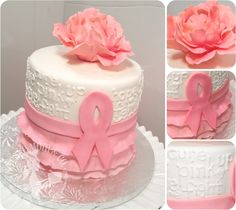 Pink Ribbon Breast Cancer Survivor Cake by The Cake Mom & Co.