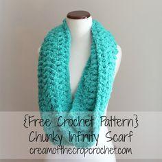 Chunky Infinity Scarf Free #Crochet Pattern ~ Cream Of The Crop Crochet€€