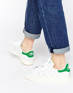 2d23a634970 adidas Originals White & Green Stan Smith Cracked Leather Trainers at  asos.com