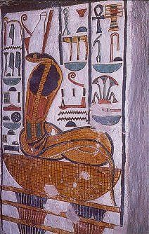 The cobra deity Wadjet, Mistress of Lower Egypt, tail coiled in an infinity pattern, head rearing, on a woven Neb reed basket. Neb means 'Master', Nebet, 'Mistress'. The bowl-shaped basket rests on Djed pillars. 19th dynasty, reign of Rameses II. Tomb of Nefertari, the Great Royal Wife of King Rameses II. Valley Of The Queens, Thebes, Egypt.