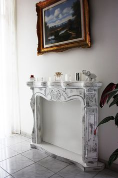 Faux fireplace Cornice camino shabby chic disponibile su www.materik.it