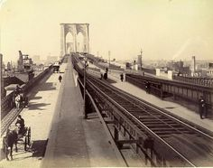 Brooklyn Bridge traffic: horse and buggy, steam driven cable train and pedestrians on the Promenade Brooklyn New York, New York City, Brooklyn Bridge, Seagram Building, Bridge Construction, The Golem, Horse And Buggy, Vintage New York, New York