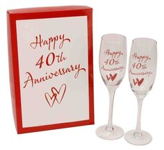 Happy Ruby Anniversary Pair of Champagne Glasses for sale online Golden Anniversary Gifts, Anniversary Gifts For Parents, Golden Wedding Anniversary, Anniversary Parties, Flute Champagne, Wedding Gifts For Parents, Happy 40th, Parent Gifts, Gift Ideas