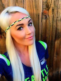 Seattle Seahawks Braided Suede Leather Headband! #seattle #seahawks #hawks #football #superbowl #braid #headband #12thman #green #fashion #game #blue #women #girl #beautiful #hillntrees #etsy #bestofetsy #hair #leather #suede