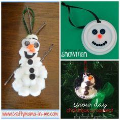 kid made snowman Christmas ornaments