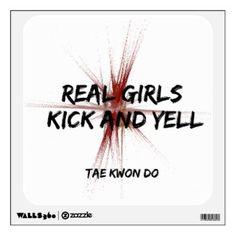 Martial Arts Real Girls Kick and Yell Wall Decal