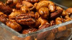 """Sweet, Salty, Spicy Party Nuts Recipe - \""""I find this technique much easier than the stovetop pan method. You'll get beautiful, perfectly frosted nuts that are roasted evenly, with no bitter burned spots. Nut Recipes, Snack Recipes, Cooking Recipes, Dishes Recipes, Savory Snacks, Party Recipes, Delicious Recipes, Party Nuts Recipe, Snacks"""
