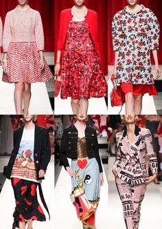 Moschino S/S 2014-Surreal Prints – Checks and Stripes – Newsprint Pattern – Mixed Scale Polka dots – All over Rose Prints  - Graphic Statement prints – Black ...