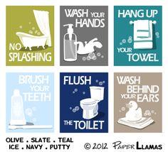 Kids Bathroom Art Prints, Wash Your Hands, Brush Your Teeth, children's bathroom wall art - Pick 3 - Bathroom rules art for the bathroom Kids Bathroom Art, Childrens Bathroom, Bathroom Rules, Bathroom Prints, Bohemian Room Decor, Cheap Bathrooms, Art Prints, Illustration, Poster