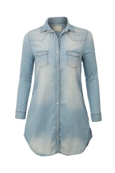 506f04c1337a60 Womens Casual Vintage Chambray Button Down Denim Shirt Dress
