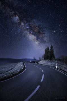 Road under the stars (Germany) by Johannes Nollmeyer Photography