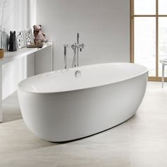 If you are looking for a modern statement piece in your bathroom, the Rocca Virginia Acrylic Freestanding Bath will be the perfect piece. Now at Victorian Plumbing. Virginia, Roca Bathroom, Basement Bathroom, Bidet Wc, Jacuzzi Bathtub, Freestanding Bathtub, Best Bathtubs, Soaking Bathtubs, Architects