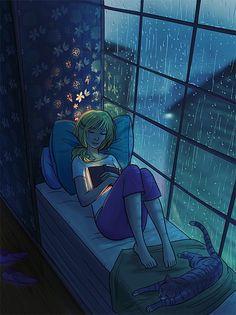 Reading books on a rainy day I Love Books, Good Books, Books To Read, Illustrations, Illustration Art, Manga Comics, Rainy Days, Rainy Night, Night Rain