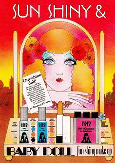 Baby Doll Cosmetics, image scanned by Sweet Jane from Photoplay Magazine September Sort of Art Deco revival? Vintage Makeup Ads, Vintage Beauty, Vintage Ads, Vintage Posters, Vintage Witch, Vintage Photos, Vintage Fashion, Retro Advertising, Vintage Advertisements