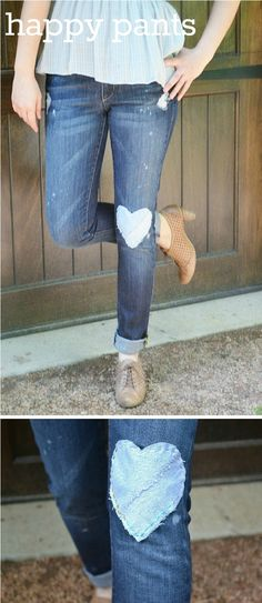 11 Eureka: i heart jeans. So cute! As a kid I loved having patches on my jeans...love this grown up version.