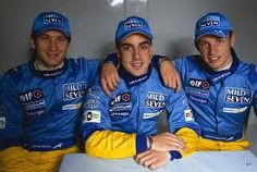 2002 Renault driver line up. Trulli, Button and Alonso