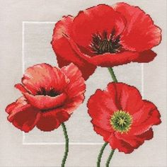 Russian Counted Cross Stitch Kit Poppies Trio.     Condition: New  Brand: Oven Овен  Theme: Flowers & Gardens  Model: 548  Country of Manufacture: